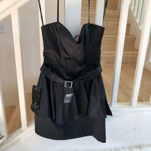 Bebe black Cateu peplum dress halter style